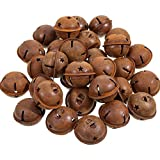 Sumind 30 Pieces Rustic Metal Bells Primitive Look Christmas Bells with Star Cutouts for Holiday Embellishing or Everyday Crafting