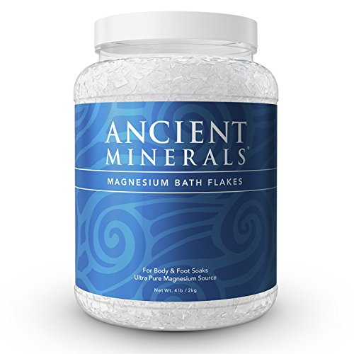 Ancient Minerals Magnesium Bath Flakes of Pure Genuine Zechstein Chloride resealable Magnesium jar That Will outperform Leading Epsom Salts (4 lb)