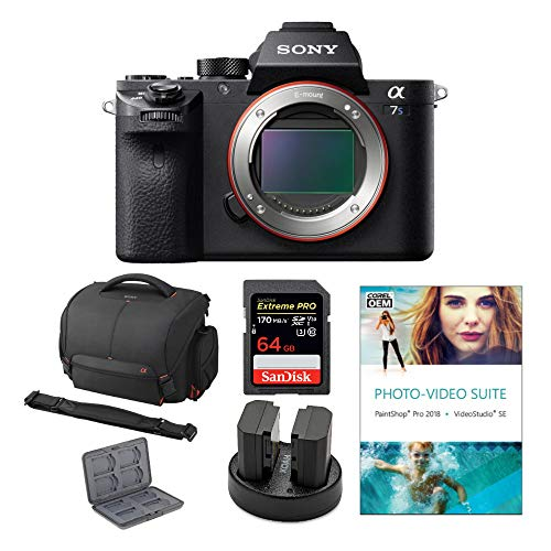 Sony Alpha a7S II 12.2MP Mirrorless Digital Camera (Body Only) Bundled with Corel Photo Software, Koah Power Kit, Carrying Case, 64GB SDXC Card, and Accessories (6 Items)