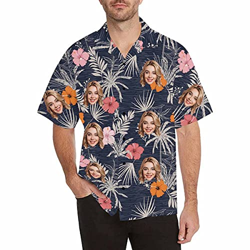 남성 맞춤형 BF 남편의 사진 남성 알로하 비치 과일 꽃 셔츠에 얼굴을 한 맞춤형 열대성 꽃 하와이 셔츠