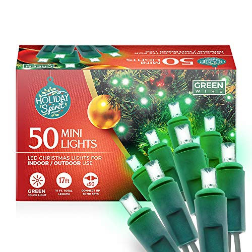Holiday Spirit Christmas Lights, 50 LED Mini Christmas String Lights for Indoor & Outdoor Use, 120V UL588 Listed Light Strings for Christmas Tree Decoration, Light Displays, Parties (50, Green)