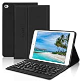 Kvago - Funda para iPad Mini con teclado Bluetooth (7,9 pulgadas, con función atril para iPad Mini 1/2/3/4/5, teclado magnético desmontable para iPad Mini 5ª generación 2019, color negro...
