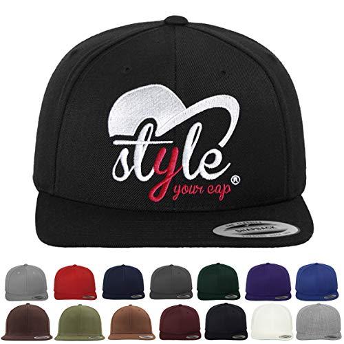 *** Snapback Cap besticken Lassen *** | Eigenes Motiv | Hochwertig | Damen & Herren Cap | Eigene Unikate | Cap Personalisieren | ONE Size (Black)