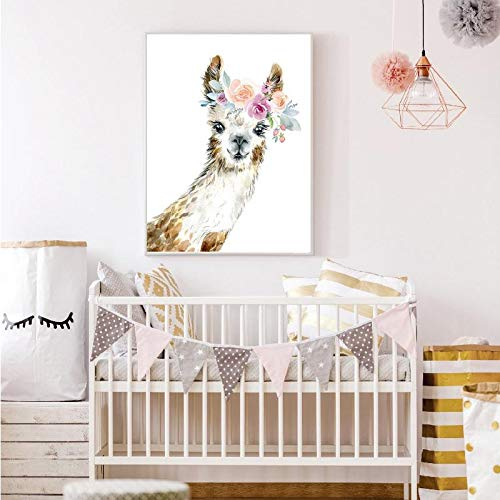Lunderliny Nordic Cartoon Garland Animal Alpaca Giraffe Deer Art Baby Room Living Room Bedroom Corridor Background Wall Painting No Frame 30x40cm