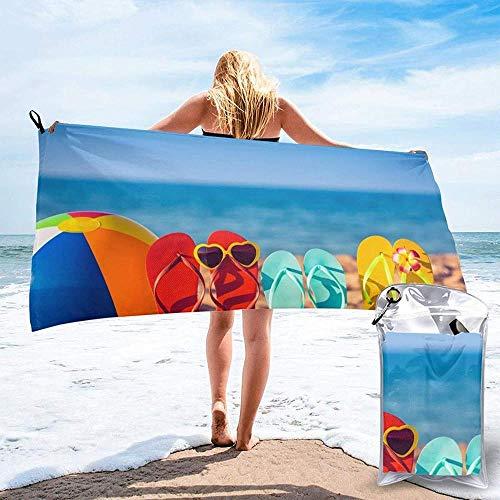 Toalla De Playa De Secado Rápido Chanclas En Una Playa De Arena Toallas De Baño Ligeras De Microfibra Impresas Adecuadas para El Hogar Niños Y Adultos Camping Natación Yoga-31.5'X63'