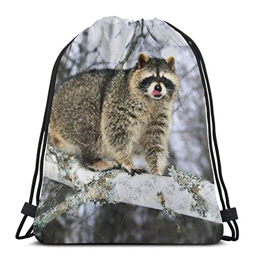 Raccoon Tree Branch Tongue Winter Unisex Drawstring Backpack Bag, Polyester Cinch Sack, Waterproof Sport Gym Bag Casual Daypack for Women