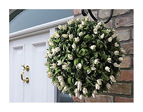 Best Artificial (TM) 40cm avorio bianco Tulip Flower Ball lush Long Leaf Topiary erba