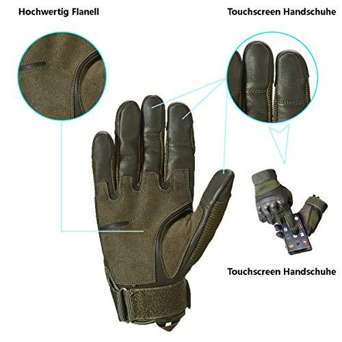 Neusky Herren Taktische Handschuhe Touchscreen Fahrrad Handschuhe Motorradhandschuhe MTB Handschuhe Mountainbike Handschuhe Outdoor Sport Handschuhe Ideal für Airsoft, Militär, Paintball (S, Grün) - 3
