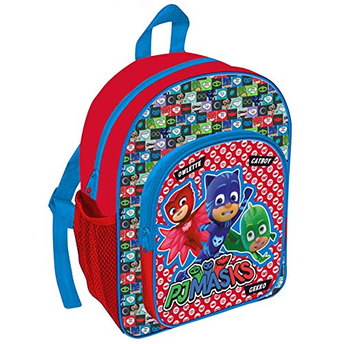 TDL Pj Masks Exclusive Design Backpack With Front Pocket & Bottle Holder (31Cm) Equipaje infantil, 31 cm, Multicolor (Red)