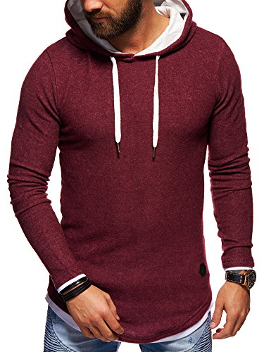 behype. Herren Oversize Kapuzen-Pullover Hoodie Sweatshirt 40-4762 Weinrot L