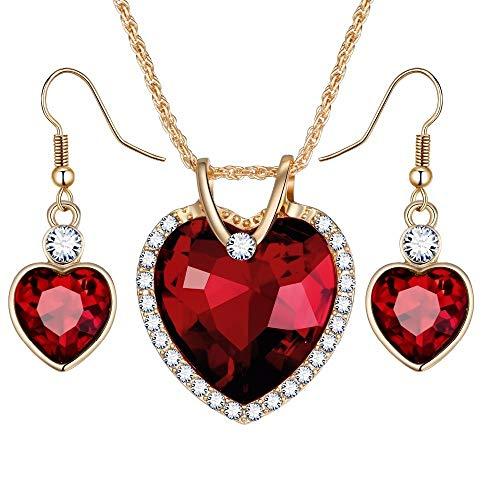 RQWY Collar Highend Luxury Love Crystal Heart Conjuntos de Joyas para Mujeres Collar Pendientes Conjunto de Joyas Nueva Boda Nupcial