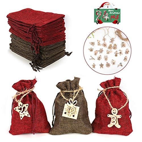 Zaloife Bolsas de Regalo Navidad Calendario de Adviento, Bolsa de Calendario de Adviento, Bolsas de Yute con 24 Adhesivos Digitales de Adviento, Arbol de Navidad Decoracion, 24pcs