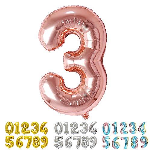 Ponmoo Foil Globo Número 3 Oro Rosa, Gigante Numeros 0 1 2 3 4 5 6 7 8 9 10-19 20-29 30 40 50 60 70 80 90 100, Grande Globos para La Boda Aniversario, Globo de Cumpleaños Fiesta Decoración