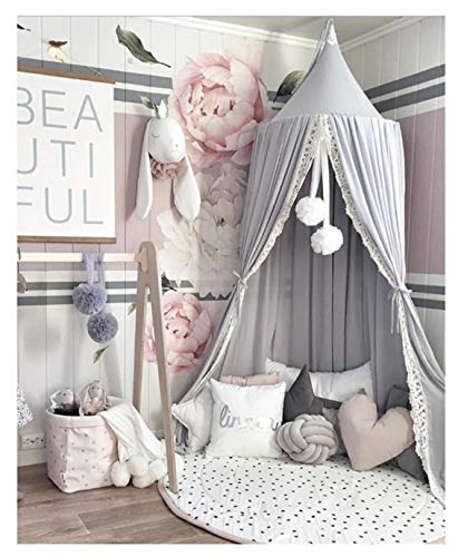 Kids Baby Dome Bed Canopy Bedcover Netting Curtain Fly Midge Insect Cot Mosquito Net - 240cm /94.5inch (Grey)