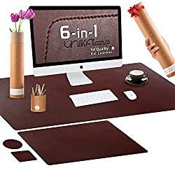 Premium Desk Pad Office Kit - Italian PU Leather Desk Mat with Multipurpose Gift Box - No Smell, No Wrinkles, Double Sided Texture - Office Desk Accessories for Laptop, Keyboard, PC