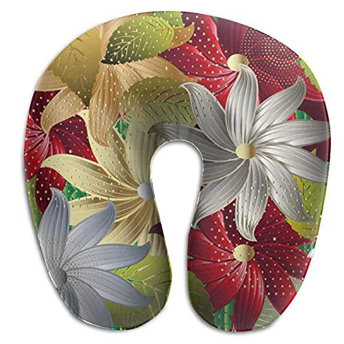 Almohada en Forma de U, Cuello, Coloridas Flores Decorativas, Viaje, Almohada Multifuncional, Coche, avión