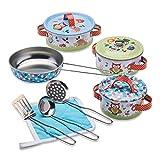 Wobbly Jelly – Cazuelas y utensilios de cocina de juguete para niños con temática de animales del bosque – Juego de cocina infantil de 11 piezas – Accesorios de cocina de juguete