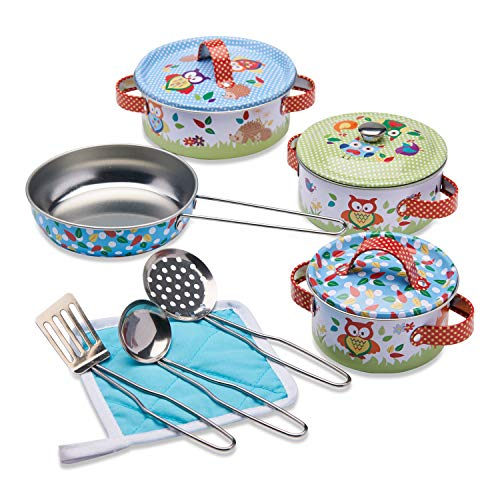 """Wobbly Jelly – """"Waldtiere"""" Spielküchenset – 11-teiliges Kinder Geschirrset mit Töpfen und Pfannen für die Spielküche – Kinder Küchenset"""