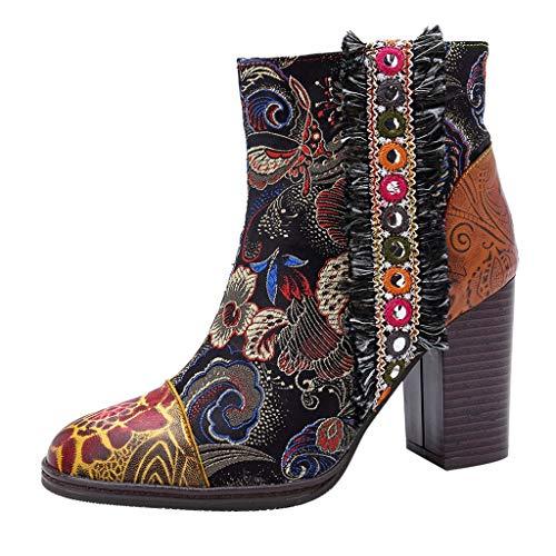 WUSIKY Geschenk für Frauen Stiefeletten Damen Bootsschuhe Boots Geprägte Splicing Pattern Stitching Zipper High Heel Stiefeletten Dicker Absatz (Braun, 37 EU)
