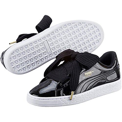 Puma Basket Heart Patent Low-Top Sneaker, Schwarz - 4