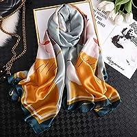 マフラー シルクスカーフの女性のファッション夏のシルクスカーフショール女性ラップソフト女性ビーチバンダナ XueQing Pan (Color : FD 45, Size : 180x90cm)