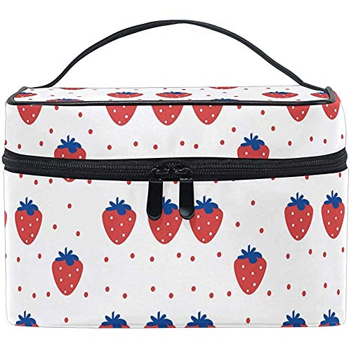 Schminktas schattig Strawberry Red Point draagbare grote cosmetische toilettas Train Case Organizer Box Pouch