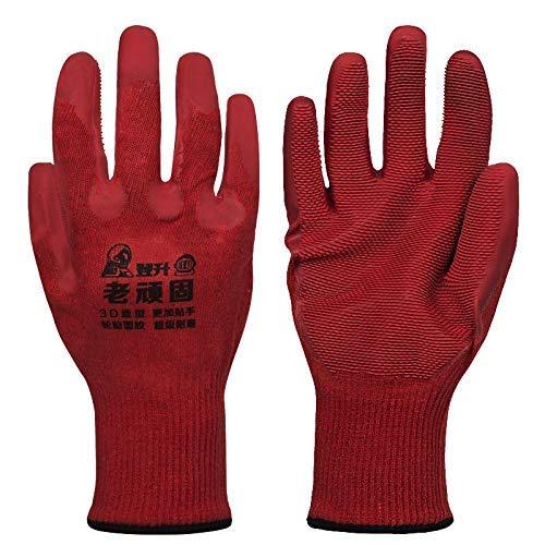 WEI-LUONG Neumáticos Seguro de Trabajo Guantes Especiales Guantes Antideslizantes Anti-Deslizamiento de neumáticos Superficie Guantes de protección, 12 Pares (Color: Rojo, tamaño: m)