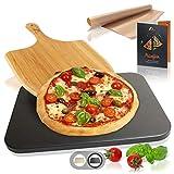 Amazy Pietra refrattaria per pizza da forno, incl. Pala in bambù, Carta da forno riutilizzabile e Ricettario –Pietra pizza dal sapore italiano (Nera | 38x30x1,5cm)