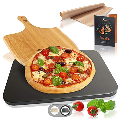 Amazy Pizzastein inkl. Bambus Pizzaschaufel, Dauerbackfolie und Rezepte Heft – Der Brotbackstein (hitzebeständig, schwarz) verleiht Ihrer Pizza den Geschmack italienisch knuspriger Steinofenpizza