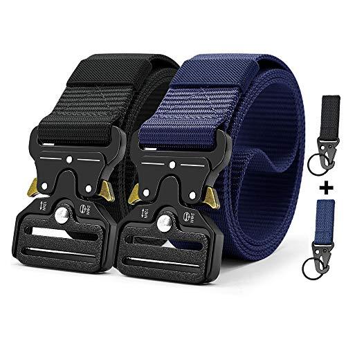Tactical Belt 1.5 Inch Heavy Duty Belt, DOOPAI 2 Pack Nylon Military Belt buckle with Quick-Release Metal Buckle