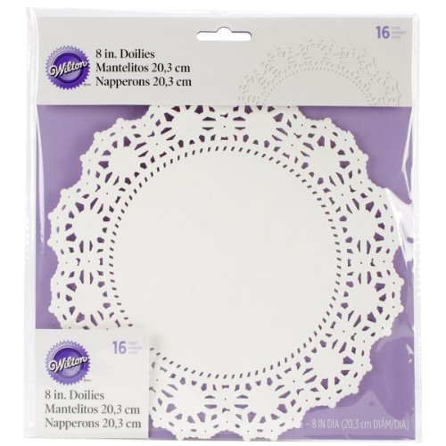 Wilton Greaseproof Doilies, 8-Inch, White Circle, 16-Pack