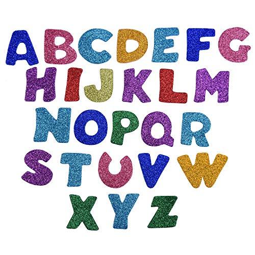 Glitter Schaumstoff Aufkleber,100 Pack Buchstaben Selbstklebende Aufkleber Schaum Glitter für Kinder Handwerk Basteln Scrapbooking Dekorieren Zufällige Farben EVA 4 Sets