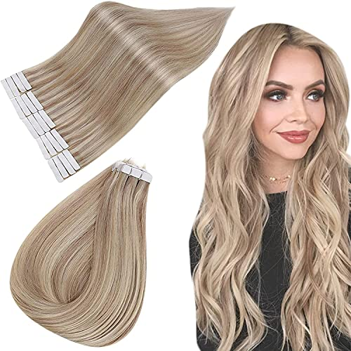 Easyouth Extensions Tape Balayage 20zoll Extensions Tape on Echthaar Aschblondes Highlight mit Hellblond 50g Echthaar Extension Tape Ombre Remy Tape Extensions