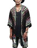 COOFANDY Mens African Dashiki Print Ruffle Shawl Collar Cardigan Lightweight Long Length Drape Cape Black by