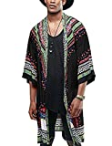 COOFANDY Mens African Dashiki Print Ruffle Shawl Collar Cardigan Lightweight Long Length Drape Cape Black