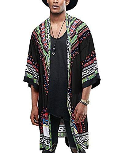 COOFANDY Mens Hipster Hip Hop 3/4 Sleeve African Dashiki Printed Ruffle Shawl Collar Cardigan Top with Belt, Black, Small