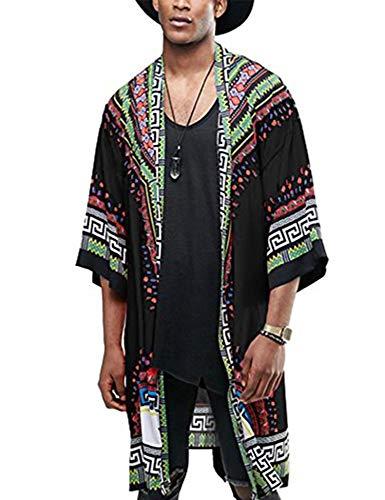 COOFANDY Mens African Dashiki Printed Ruffle Shawl Collar Cardigan Lightweight Long Length Drape Cape (XXL, xx) Black