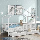 SHHII Kinderbett, Kinder Hausbett aus KiefernHolz mit 2 Schubladen & Rollrost, Massivholz Kinder...