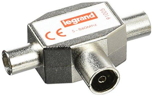 Legrand 091005 Répartiteur Télévision Blindé, 1 Entrée Femelle, 2 Sorties Mâles, Ø9.52mm, Gris