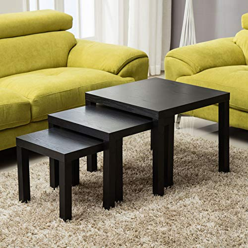 mecor Nesting Tables Square Black Coffee Table Set Modern Design End Side Table Multi-functional for Living Room,60/50/40 * 50/43.5/37cm(W*D)