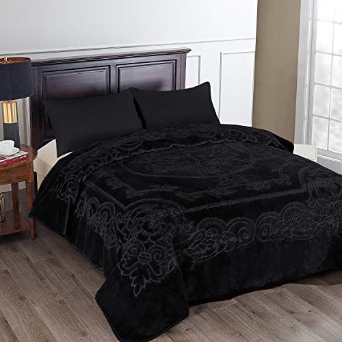 JML Fleece Blanket King Size, Heavy Korean Mink Blanket 85 X 95 Inches- 9 Lbs, Single Ply, Soft and Warm, Thick Raschel Printed Mink Blanket for Autumn,Winter,Bed,Home,Gifts, Black