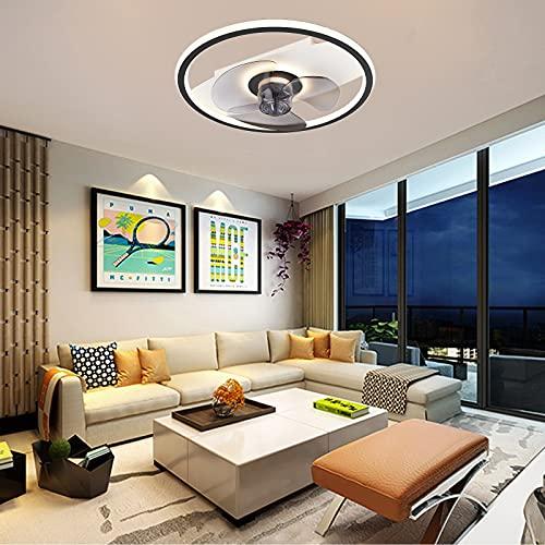 VOMI Silencioso Lámpara de Ventilador LED Regulable con Mando a Distancia Ventilador de Techo con Luz Moderno Ultra Delgado Metal Lampara Ventilador Techo con Luz para Salón Cuarto Comedor