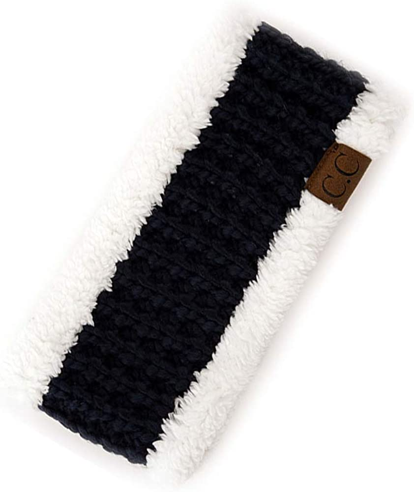 ScarvesMe Sherpa Fuzzy Fleece Lined Cable Knit Thick Headwrap Headband
