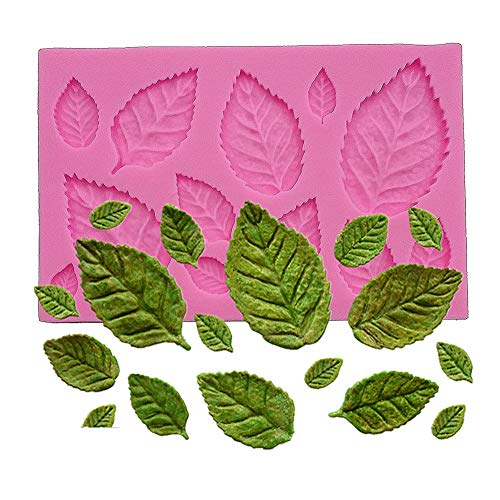 Wocuz Mini Rose Flower Leaves Vein Silicone Mold Gum Paste Fondant Mold Cake Border Cupcake Silicone Lace Mat Mold Decoration Tool, 3.9
