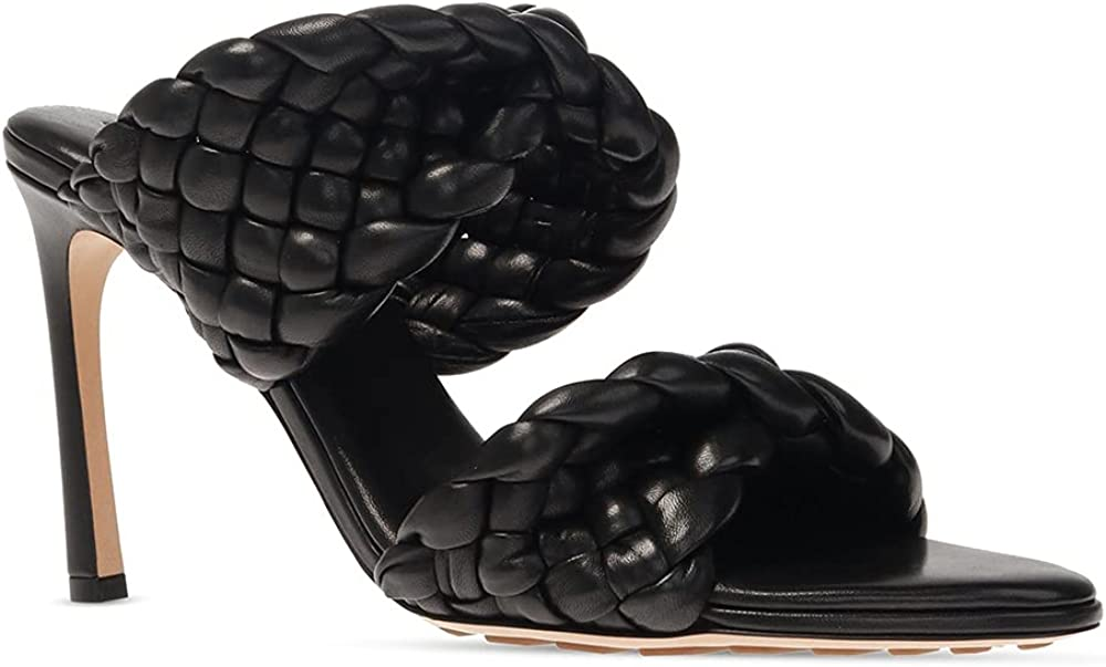 Women's Braided Heeled Sandals Round Open Toe Backless Double Straps Stiletto Slip on Slides