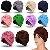 10 Pieces Stretch Polyester Turbans Head Bennie Cover India's Hat Twisted Headwrap (Mixed Colors)