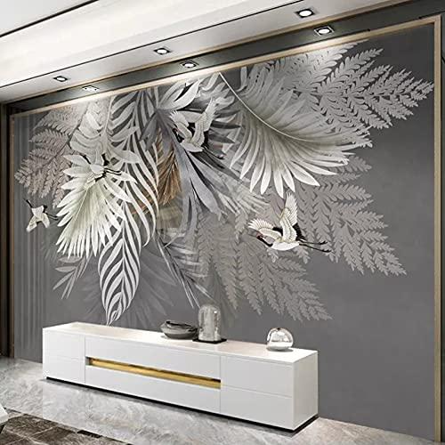 Pintura de pared personalizada 3D pintado a mano planta hoja foto papel tapiz dormitorio estudio sala de estar TV papel tapiz de fondo mural 400x280cm