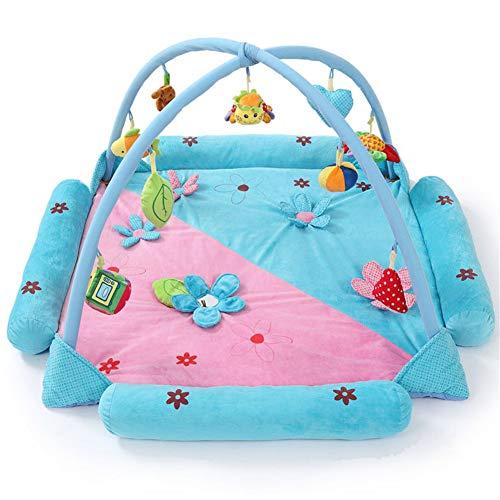 Baby Play Gym, Tapis de Jeu d'activité pour Nouveau-né Puzzle Early Learning Center Musique Couverture Rampante Fitness Rack Jouet Convient pour 0-2 Ans,Blue