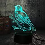 Lámpara de luz 3D 7 colores Animal hola pájaro gorrión alimentado por USB 7 colores interruptor táctil intermitente iluminación de decoración de dormitorio -16 colors remote