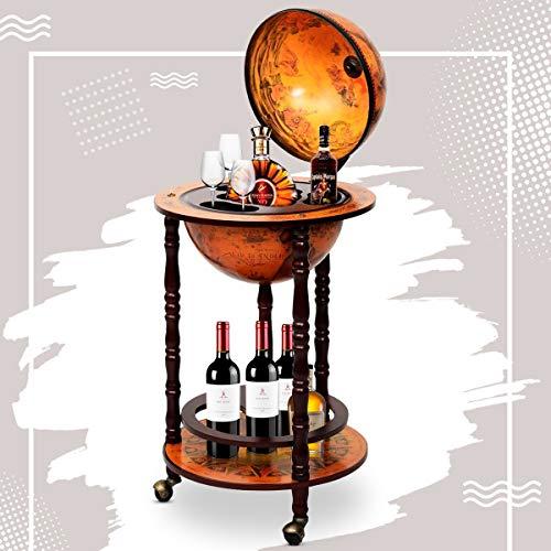 RELAX4LIFE Globusbar mit Rollen, Minibar Massivholz, Weinregal Flaschenregal mit Bodenplatte, Barwagen, Hausbar, Globus Bar, Weinschrank, Tisch Bar, Cocktailbar, 45 x 45 x 88 cm (Braun) - 9